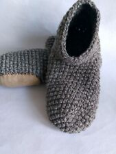 Crochet big men`s wool slippers /White/Brown melange /Size USA 11-12, Home shoes