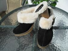 BCBGirls Black Suede  mules  with genuine Shearling size 38,5 US 8,5