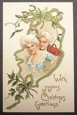 a/s HBG Griggs Colonial Couple under the Mistletoe vtg Christmas postcard 1909