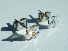 Boucles d'Oreilles Acier Inox Clous Strass Diamant