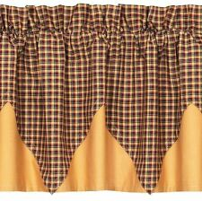 Patriotic Patch Country Farmhouse Red Plaid Handkerchief Layered Window Valance
