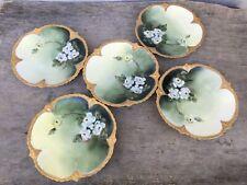 Set of 5 Limoges France Hand Painted Floral Gold Gilt Scalloped Plates 6 3/8�