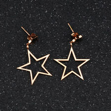 Cute Black Hollow Star Rose Gold GP Surgical Stainless Steel Stud Earrings Gift