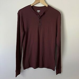 Old Navy S Mens Shirt Thermal Henley Plum Long Sleeve Stretch Soft Washed NWT