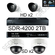 SAMSUNG sdr-4200 8ch 1080p HD 2tb Hybrid CCTV DVR + TELECAMERE 2x HD 2x SD FOTOCAMERE
