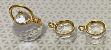 Swarovski Crystal Miniature Tea Set with Gold Trim - Teapot & 2 Cups - Mint!