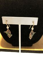 Gold Tone Copper Color Hummingbird Design Oval Shape Drop Dangle Hook Earrings