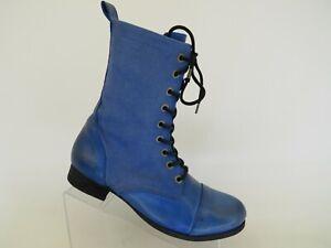 Diesel Blue Leather Canvas Laces Zip High Ankle Combat Fashion Boots Size 41 EUR