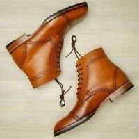 Men Handmade Leather Cap Toe & Brogue Ankle High lace Up Boots-Causal/Formal