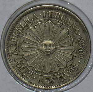 Peru 1880 10 Centavos 150428 combine shipping