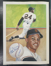 Willie Mays Signed Lithograph Poster 1982 RT Handville SF Giants /1000 MLB HOF