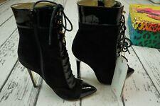 VERSACE H&M Black Suede Patent Leather Boots Tie Heels Booties EUR 38 US 7