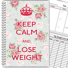 DIET DIARY A5/SLIMMING FOOD TRACKER/DIET & WEIGHT LOSS DIARY PLANNER/ KEEP CALM