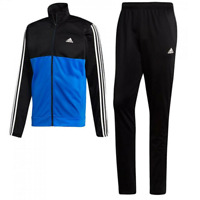 Men's Adidas Back 2 Basics 3 Stripe Black and Blue Full Fitness Sport Tracksuit