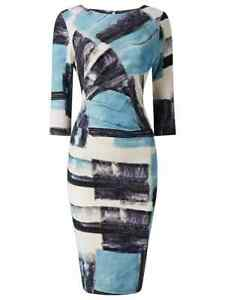 Phase Eight Novella Blue Print Pencil Dress UK 12 RRP £89 LN110 WW 01