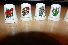 7 VINTAGE FLOWER CHINA THIMBLES VERY OLD PLEASE LOOK SILLY CHEAP