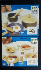Plan Toys Wooden Cooking Utensils Playset Tableware Set Kitchen Pretend Play