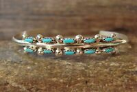 Zuni Indian Jewelry Sterling Silver Turquoise Bracelet - DR