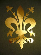 Fleur De Lis in Gold Chrome #1 vinyl window laptop decal car bumper sticker 5""