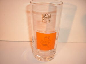 1960's Cleveland Browns NFL Football Logo Mascot Drinking Glass