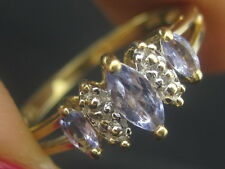 10K Gold Three Marquise Purple Tanzanite Gemstones Ring W/Diamond Accents Size 7