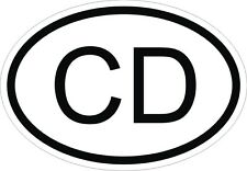 CD Corps Diplomatique COUNTRY CODE OVAL STICKER bumper Bumper Motorcycle Helmet