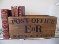 CRATE BOX POST OFFICE SORTING DEPT EIIR WOOD VINTAGE STYLE STORAGE BOX