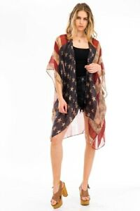 AMERICAN FLAG Distressed Patriot KIMONO VEST Cowgirl Boho Vintage Festival Scarf