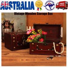 AU  Wooden Jewellery Treasure Box Keepsake Storage Chest Lock Case Oraganizer