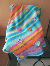 Crochet Baby Blanket.Striped Vibrant Colors Throw with flowers.