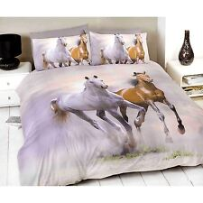 RUNNING GALLOPING HORSES PONY DESIGN DOUBLE DUVET COVER SET WITH PILLOWCASE