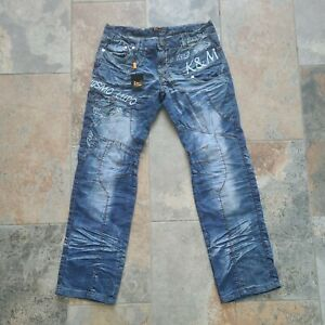New Kosmo Lupo Men's Distressed Jeans Embroidered Tag Size 36 Actual Size 34