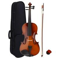 New Acoustic Violin 4/4 Full Size with Case and Bow Rosin Natural