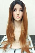 Human Hair Wig, Front Lace, Long red Brown Silk Top hand tied hair, real hair