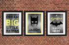 Kids Personalised Monochrome batman print A4 A5 Set Geometric Chevron Grey Boys