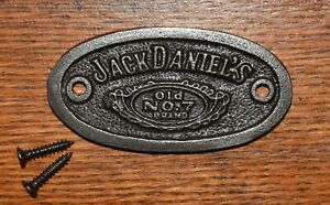 Vintage style small cast iron Jack Daniel's sign badge plaque or label