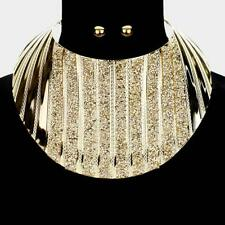 HOT Statement Gold Druzy Crystal Curved Bib Choker Necklace Set Rocks Boutique