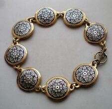 Russian Russia Sterling Silver 925 Niello Severnaya Chern Tennis Bracelet 13.6 g