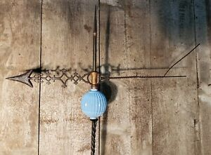 Antique Farm Barn Country Weathervane American Folk Art. Deep Pleated Blue Ball!