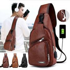 Mens Leather Shoulder Bag Sling Chest Pack USB Charging Crossbody Handbag Gym US