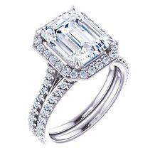 Stunning 2.10 Ct. Emerald Cut Halo Diamond Engagement Bridal Set G, VVS2 GIA