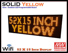 52x15 Inch Yellow Wifi Semi Outdoor Indoor Led Scrolling Sign Super Fast Ship