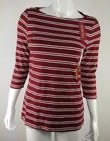Merona Womens 3/4 Sleeve Boatneck Tee Burgundy Cream Striped Sizes XS SM XXL NWT