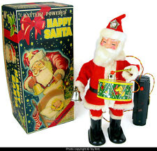Happy Santa with drum & bell r/c lighted cap Alps Japan 1950s toy ... see movie!