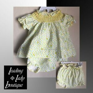 VTG Baby Girl Yellow Diaper Lined 2 Piece Clothing Set Carter's 3 Mos Floral '82
