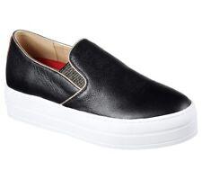 New Skechers Womens Street Freestyle Platform Black Leather Shoe Sneaker sz 9M