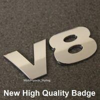 Chrome V8 Rear Boot Badge Emblem Decal Car Van Back Tailgate Fender Wing Side v8