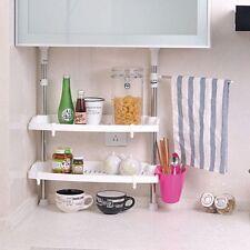 Adjustable Kitchen Rack 2 Tier Organiser Spice Jar Cabinet Shelf Storage Tidy