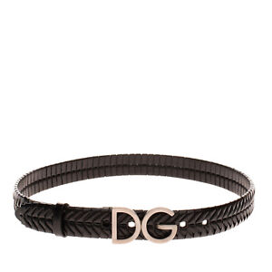 RRP €250 DOLCE & GABBANA Leather Belt Size 85/34 Wrapped Panel DG Blank Buckle