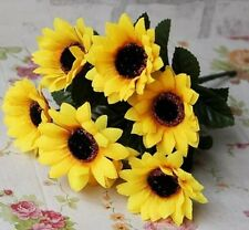 FD1010 Artificial Sunflowers Posy Bouquet Home Craft Decor DIY 1 Bunch 7 Heads:)